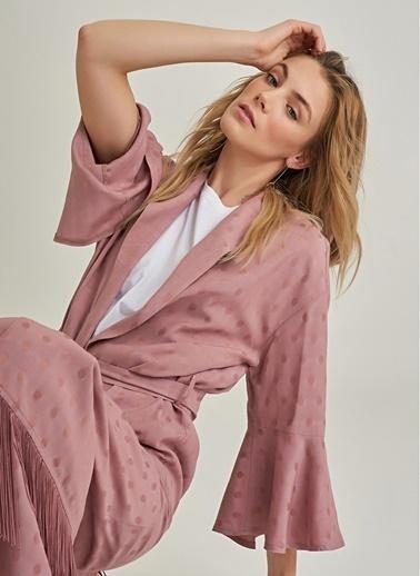 NGSTYLE Püsküllü Kimono Ceket Gül Kurusu